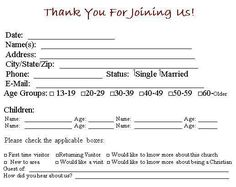 This Visitor Card Click The Link Below Church Template Is