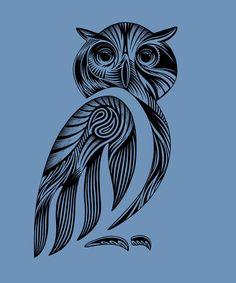 Tribal Owl Art Print by Rachel Caldwell