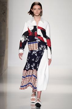 In her finale, Beckham forwent the usual sexy send off (though a pair of white slip dresses felt right in step with the current '90s redux) in favor of a cool mashup of the floral, surf and plaid prints done in tailored jackets and full skirts.   - HarpersBAZAAR.com