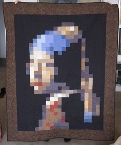 pixelated quilt. Great quilting by Kayli Taylor