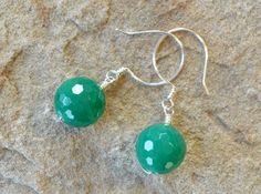 Green Agate Faceted Ball Drop Sterling Silver Earrings - Handcrafted Earring Hooks - Adrienne Adelle, $25.00