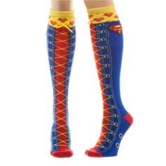 Leg Avenue 6923 Red//Blue Red /& Blue Striped Thigh Highs