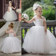 The red and white flower girl dresses which match the flowers-2017 cute toddler flower girls dresses for weddings 2017 newest lace tulle tutu ball gown infant children wedding dresses party dresses is offered in yate_wedding and on DHgate.com teenage girls dresses along with toddler girls are on sale, too.