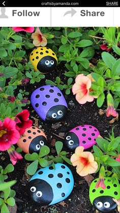 Learn to make these adorable ladybug painted rocks. use special outdoor paint fo… Learn to make these adorable ladybug painted rocks. use special outdoor paint for this adorable garden craft so you can keep garden ladybugs all summer! Kids Crafts, Craft Projects, Kids Garden Crafts, Children Garden, Kids Diy, Summer Crafts, Garden Ideas Kids, Garden Tips, Colourful Garden Ideas