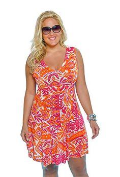 Always For Me Tropical Sunset Dress Plus Size Coverup,fuschia/orange,2X Plus