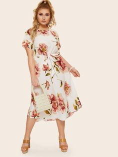 Plus Floral Print Self Tie Dress #fashion #fashionista #clothes #dress #shein ,women's plus size clothing including dresses, tops, bottoms, and lingerie. plus size clothing plus size dresses plus size fashion plus size clothes affordable plus size clothing trendy plus size clothing urban plus size clothing cute trendy plus size clothes plus size plus size womens clothing trendy plus size clothing plus size clothing stores plus size maxi dresses plus size stores cheap plus size clothing plus…