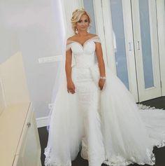 Desmontable Blanco Bola Vestidos de Novia 2017 Boat Neck Lace Up Vestido De Novia vestido de noiva Cap Mangas Appliques M1593 en   de   en AliExpress.com | Alibaba Group