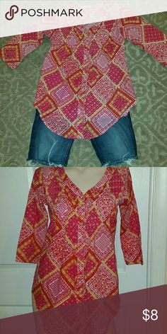 Max pink and yellow button down top Pink and yellow print top with 3/4 length sleeves Max Tops