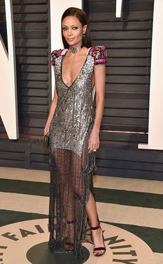 Thandie Newton from 2017 Vanity Fair Oscars After-Party  TheWestworldstar made a fashionable splash in a metallic frock with colorful cap sleeves.