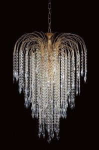 "6 Light  "" 'Waterfall' Lead Strass Crystal Chandelier with 'Heritage' Prisms"