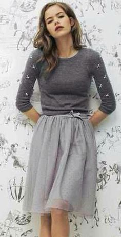 gray on gray embellished / beaded sweater and sweet skirt