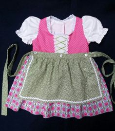 Perky Pink and Green Baby Dirndl by MiladyGeraldines on Etsy Bright Pink, Pink And Green, Little Girl Dresses, Girls Dresses, Long Ties, Dress Picture, Eyelet Lace, Halloween Outfits, Baby Sewing