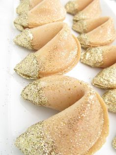 Fortune Cookies with Gold Glitter