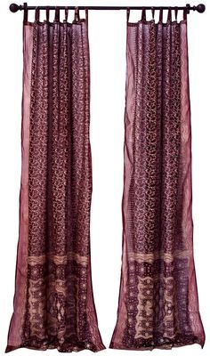 boho curtain panels sheer embellished | Amazon.com: 2 India Curtains Ivory Art Silk Sari Curtain Drape Panels ...