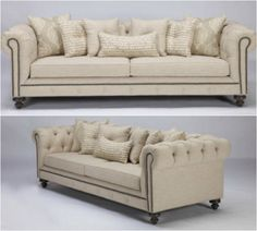 This traditional Chesterfield-inspired sofa is incorporated with a modern twist using cream textured linen blend fabrics, antique nail-head detailing, button tufting and ash stained legs to finish the grandeur of this masterpiece.  Set includes one (1) sofa and seven (7) throw pillows. French Country Sofa, French Country Furniture, Transitional Sofas, Transitional Style, Chesterfield Couch, Living Room Sofa Design, Linen Sofa, Fabric Sofa, Sofa Furniture