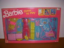 1990 Mattel, BARBIE Dress 'N Play #7543, Ski, Travel, Exercise Large Set, NIB!