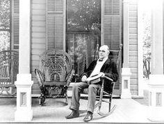 President William McKinley photographed sitting on his famous front porch...