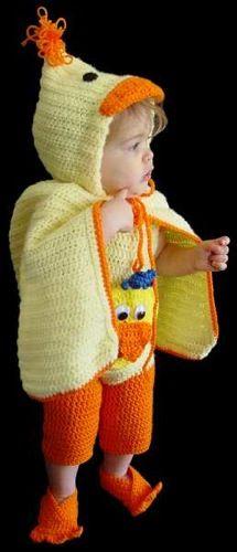 PA891 Duck Romper Set Crochet Pattern- http://www.maggiescrochet.com/duck-romper-set-pattern-p-12.html#.UVnL1FeNpZ0 #pattern #crochet #duck #romper #cape #booties #baby