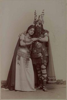 Lucienne Bréval as Brünnhilde & Francisque Delmas as Wotan in Die Walküre (Wagner) | by Benque, 1893. #opera #costume