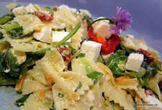 Pasta Salad with Feta Cheese, Sun-Dried Tomatoes and Spinach