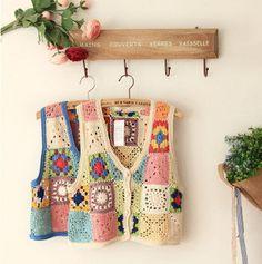 Handmade crochet knitting colorful vest vest