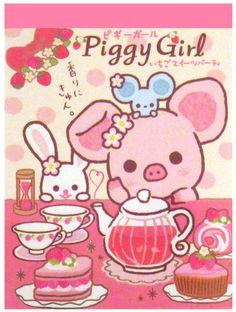 San-x Piggy Girl Strawberries Mini Memo Pad: Tea