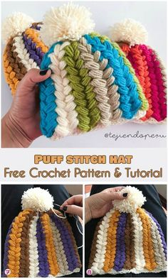 Puff Stitch Hat [Free Crochet Pattern and Video Tutorial]  Puff Stitch for hats, you can use it in your other projects- See more FREE crocheting patterns and Video Tutorials