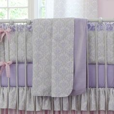 Lilac and Silver Gray Damask Crib Blanket | Carousel Designs