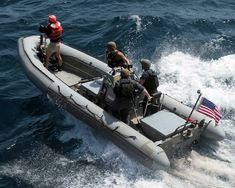 Sailors transit in a rigid-hull inflatable boat after being launched from the guided-missile destroyer USS Chung-Hoon (DDG during maritime security operations in the Gulf of Aden. Rigid Inflatable Boat, Pride Of America, Mass Communication, Navy Military, Sailors, Troops, United States, Ocean, The Ocean