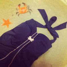 Navy blue retro bathing suit with pink piping by MamaMaria @ HIPPO! Royale https://www.facebook.com/HIPPOROYALE