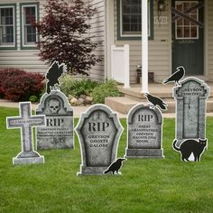 Personalized Graveyard Tombstone Yard Sign Set