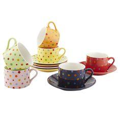 12 Piece Polka Dot Cup & Saucer Set