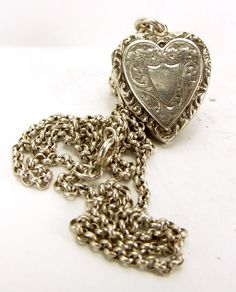 """Antique Hand Decorated Heart LOCKET Repousse Edge 18"""" Chain 1911"""