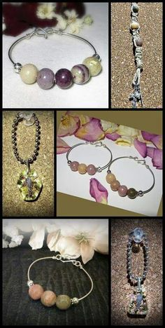 More of my flower petal memorial jewelry. Just mix your crushed flower petals with translucent polymer clay, roll your beads, bake then design. Simple, but sooo meaningful.