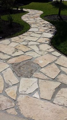 Flagstone walkway with polymer grout and Texas insert.
