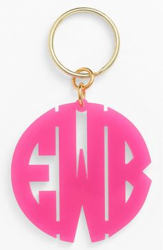 Obsessing over this monogrammed key chain in a bright pink.