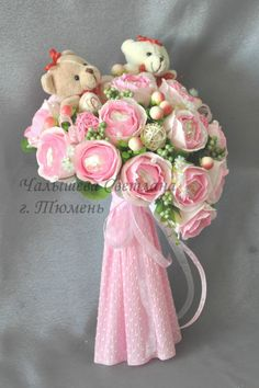 Gallery.ru / Фото #63 - Плюшевый рай - begonia2008 Candy Bouqet, Candy Flowers, Flower Box Gift, Flower Boxes, Chocolate Template, Chocolate Flowers Bouquet, Chocolates, Paper Bouquet, Candy Cakes