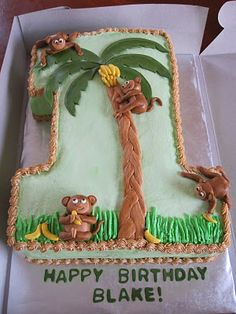 Ms. Cakes: 1st Birthday Monkey Cake - Cute Idea!