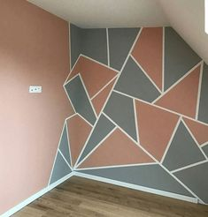 Bedroom Wall Designs, Room Ideas Bedroom, Bedroom Decor, Cute Room Decor, Room Wall Decor, Diy Wall Decor, Diy Living Room Paint, Boys Bedroom Paint, Geometric Wall Paint