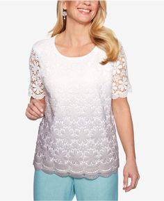f91d76a48d83b Alfred Dunner Versailles Crochet-Lace Ombre Sweater Ombre Sweater