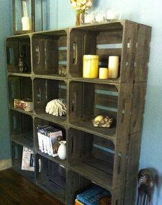 Small wooden crate bookshelf, rustic apple crates Custom listing, Small rustic crate bookshelf, 6 Apple Crates- This image has get. Large Wooden Crates, Wooden Apple Crates, Wood Crates, Crate Bookshelf, Bookshelves, Bookshelf Brackets, Shabby Chic Storage, Display Shelves, Shelving