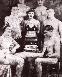 Group of tattooed attractions c. 1920