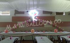 Quinceanera Pearl Arch with Small Flower Centerpieces