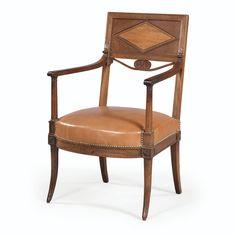 Fauteuil en acajou et placage d'acajou d'époque Directoire, attribué à Henri Jacob | lot | Sotheby's