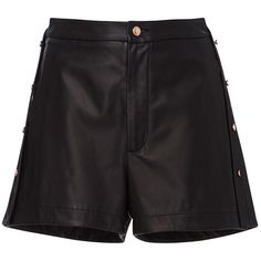 CG     Side Placket Bell Leather Short (40,785 PHP) via Polyvore featuring shorts, black, leather mini shorts, high-waisted shorts, mini shorts, high waisted short shorts and high waisted shorts