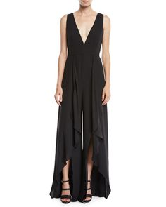 Flowy Jumpsuit w/ Draped Front by Halston Heritage at Neiman Marcus