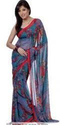 54% discount on Variation Multicolour Printed Saree With Free Gold Plated Jewellery Set at Snapdeal.com