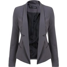 Miss Selfridge Grey Drape Blazer (295 GTQ) ❤ liked on Polyvore featuring outerwear, jackets, blazers, tops, coats, grey, gray jacket, grey jacket, grey blazer et draped jacket