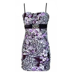 Jon & Anna  Purple Floral Leopard Print Ruched Summer Dress ($24) ❤ liked on Polyvore featuring dresses, purple, flower print dress, floral print summer dresses, ruched dress, leopard print dress и purple empire waist dress