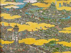 Yamaguchi Akira, One hundred Unusual Scenes of Osaka Trams 2003 pen - watercolor on papeer 25 x 112 detail.